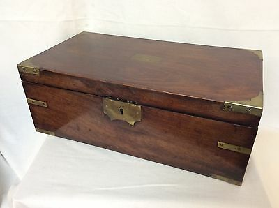 Victorian Brass Bound Mahogany Writing Slope With Glass Inkwells & Secret Drawer