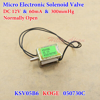 DC 12V 300mmHg Mini Electric Solenoid Valve N/O Normally Open Type Control Air