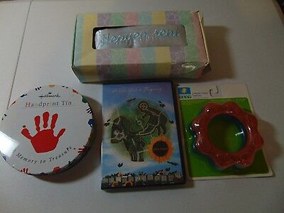 Newborn & Baby Gift LOT Pillow Hand Print Tin Pregnancy DVD Teething Rings #1853