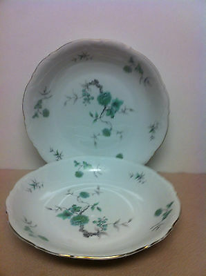 "2 Mitterteich Bavaria Germany ""Green Ming"" Rim Soup 8"" Vintage Excellent"