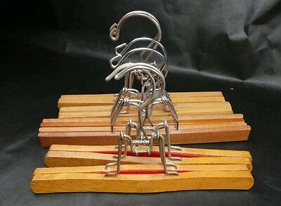 """Lot of 6 Wooden Vintage Metal Clamp Style 11"""" Wood Hangers Skirts Snow Pants"""