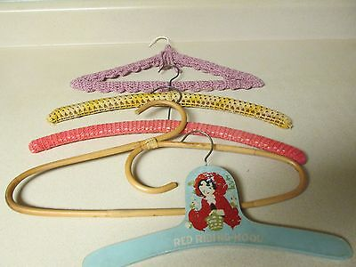 Vintage Wood Baby Child's Red Riding Hood Hanger Crocheted KNIT Wooden & Bamboo!