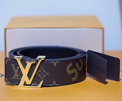 Louis Vuitton x Supreme Monogram Belt Size 90 Brown Authentic LV Box Logo