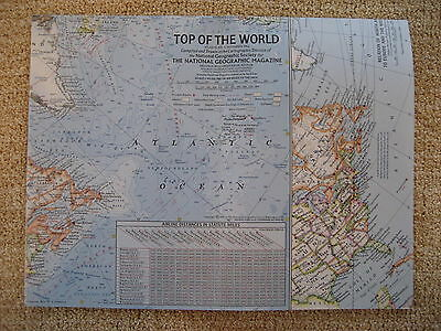 vintage map TOP OF THE WORLD vintage National Geographic Map 1965