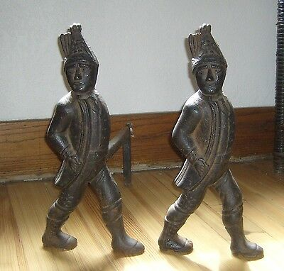 Antique Heavy Cast Iron 30 Lbs Plus Per Hessian Soldier Andirons & Fire Dogs Set