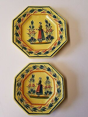 Set of 2 Yellow Quimper Plates French Faince