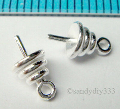 10x STERLING SILVER CONE CAP CLASP PEARL BAIL PIN 4.7mm PENDANT CONNECTOR N853A