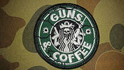 New Guns & Coffee Crack Skull Green Tactical Morale Airsoft Patch Aussie Seller