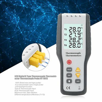 LCD Digital K Type Thermocouple Thermodetector Thermocouple Probe HT-9815 ##