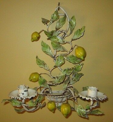 Antique / Vintage Italian Toleware Wall Sconce Hand Painted Lemons Beautiful