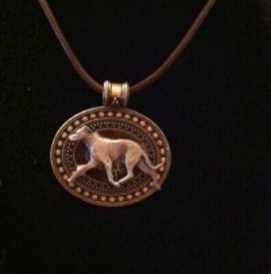 WHIPPET  Brass Medallion/ leatherCord~necklace ~