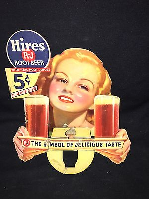 "Rare 1930's 11 1/2"" Hires Root Beer Sign"