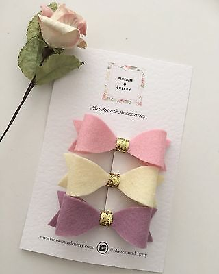 Set of 3 Felt Bow Hair Clips - Baby Infant Toddler Hair Clips