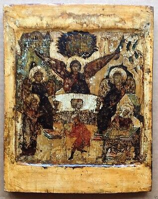 ANTIQUE RUSSIAN ORTHODOX ICON OF THE HOLY TRINITY 17th CENTURY икона