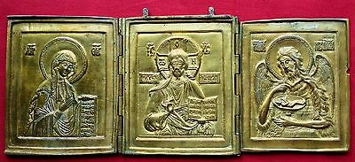 ANTIQUE 19th C. Russian Icon Cast Bronze Three-fold Panels Triptych The Deisis