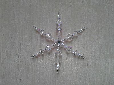 Two Glass Crystal Beaded Snowflake Christmas Tree Ornament Decorations *4