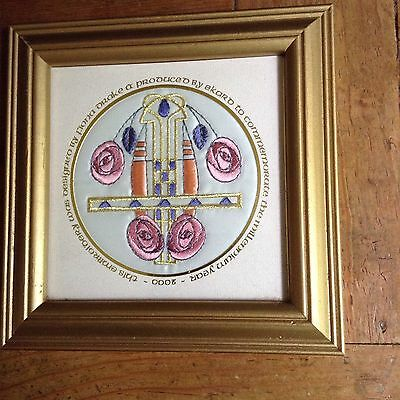 Hand Stitched MacIntosh Style Framed Embroidery For Millennium 2000 Art Nouveau