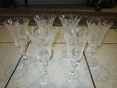 Fuchsia Tiffin Water Goblets Stemware Glasses Floral Etched Set of 6