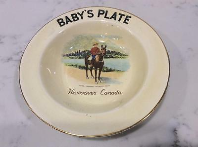 Baby's Plate, Royal Canadian Mounted Police Mounties Vancouver, British Columbia