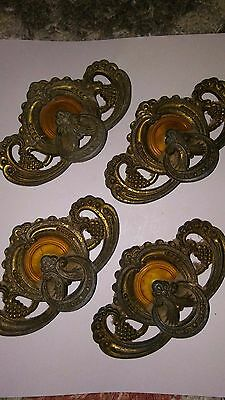 30s Art Deco Brass & Celluloid furniture hardware Drawer Pulls set of 4