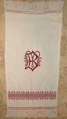 "VTG Inital "" B "" LACE & OPENWORK  Towel Red Work Embroidery Cross Stitch 20 x 44"