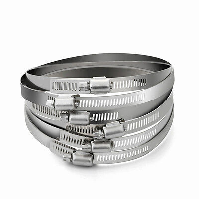 4x Stainless Steel Hoop Ring Adjustable Hose Clamps Ducting Hose Fixed Round New