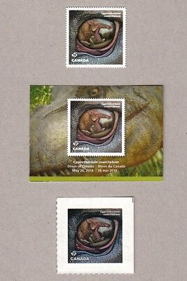ca. CYPRETHERIUM COARC, DINOS OF CANADA 2016 DIE CUT MNH bkt stamp +CARD+TATTOO