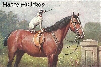 Jack Russell Terrier & Horse C. Reichert LARGE New Blank Christmas Note Cards 3