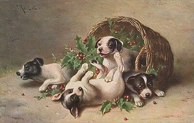 Jack Russell Terrier Puppy Dogs C. Reichert LARGE New Blank Christmas Note Cards