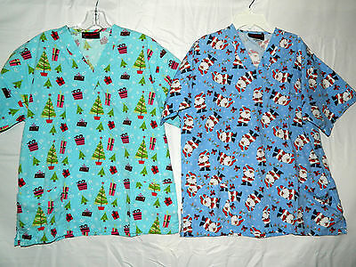 2 Melrose Ladies Scrub Tops Christmas Theme Size Medium Short Sleeves