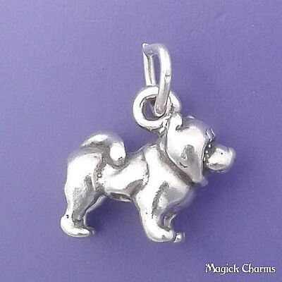 """Sterling Silver Chow Chow Dog 3D Solid Pendant 18/"""" Italian  Box Chain Charm"""