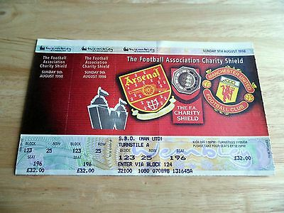 1998 Charity Shield Arsenal v Manchester United Unused Ticket (Man Utd Seat)