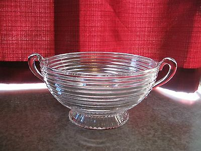 Vintage Anchor Hocking Manhattan  Large Footed Clear Bowl with Handles