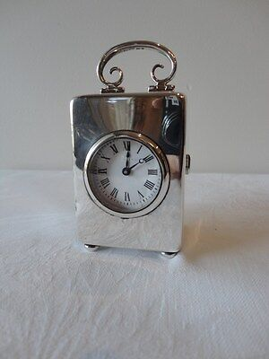 English Sterling Silver Cased Carriage Clock