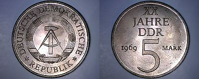 1969 German Democratic Republic 5 Mark World Coin -  East Germany - 20th Anniv