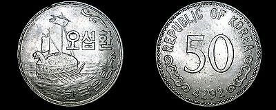 1959 (4292) South Korean 50 Hwan World Coin - South Korea
