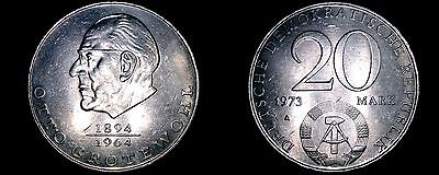 1973-A German Democratic Republic 20 Mark Coin- East Germany- Otto Grotewohl