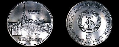 1989-A German Democratic Republic 5 Mark Coin -  East Germany -  Marien Kirche