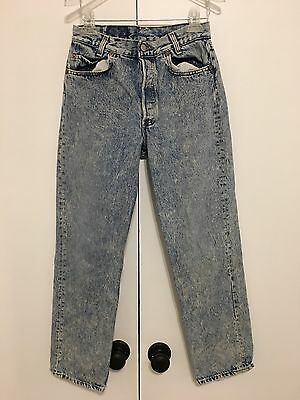 Vintage Levi's Jeans High Waist Acid Wash 29x28 Made In USA Button Fly