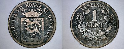 1860 Danish West Indies 1 Cent World Coin - Virgin Islands