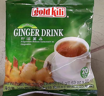 Gold Kili Instant Ginger Drink Tea 1 Pack 20 Sachets Packets New Healthy Natural