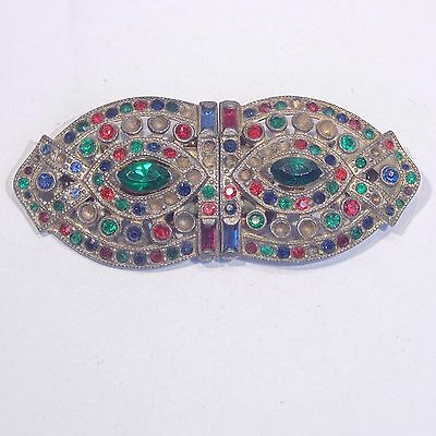 Vintage 1930s signed Coro Duette multicolor rhinestone dress clips brooch as is