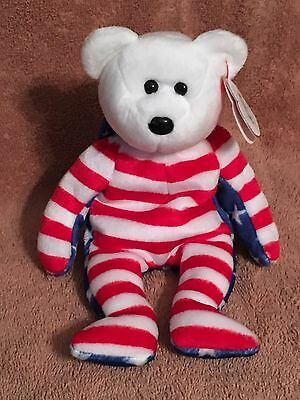 TY Beanie Baby - LIBERTY the White Patriotic Bear-Pristine w/ Mint Tags-RETIRED