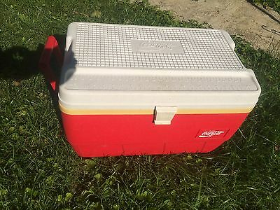 Vintage large  Coca-Cola Igloo Cooler Coke red & white made in USA rare fishing