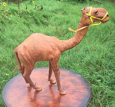 """Leather Wrapped Camel Sculpture Statue Figurine 13.5"""" Tall w/ Halter Desert"""