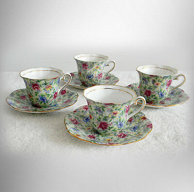 Taylor and Kent set of four English chintz cups and saucers - FREE SHIPPING