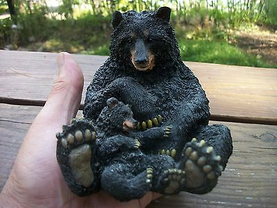 "Black Bear and Cub Figurine 5"" Resin Sculpture Wildlife Decor Figurine"