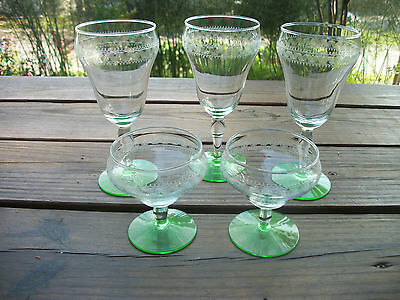 Vintage Tiffin Wine Sherbert Needle Etched Green Vaseline Crystal Glasses