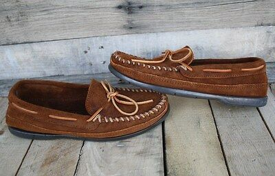 MINNETONKA Suede Leather Slip On Driving Moc Moccasin Loafer Shoes Brown 7.5 wom