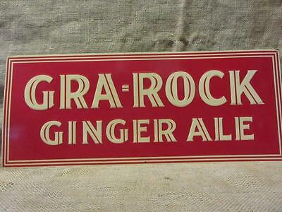 Vintage Embossed Gra-Rock Gingerale Sign > Antique Beverage Drink Soda 9758